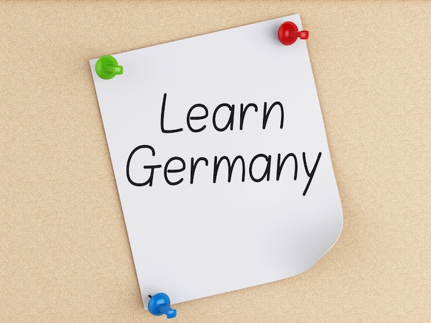 3d learn germany, word on post-it su sughero.