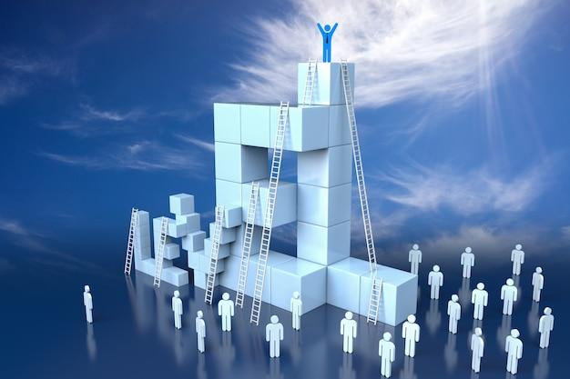 Blocco di livello 3d con il concetto di avanzamento della leadership. rendering 3d