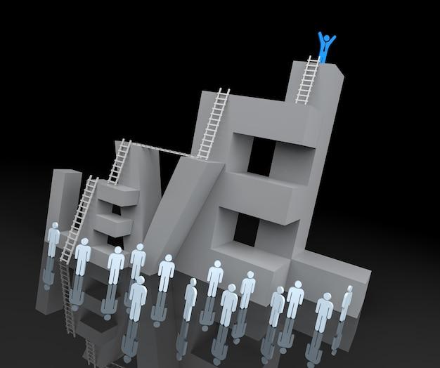 Blocco di testo di livello 3d con il concetto di avanzamento della leadership. rendering 3d