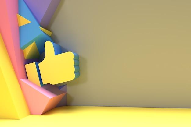 3d like thumbs up design del simbolo con lo spazio del tuo testo, 3d render illustration