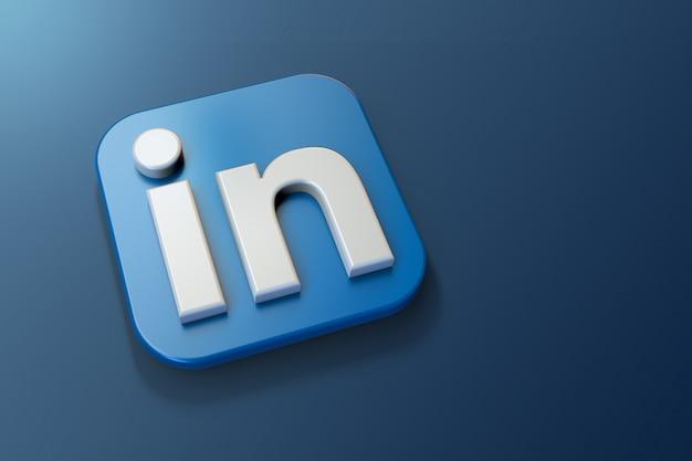 Minimalista logo linkedin 3d con uno spazio vuoto