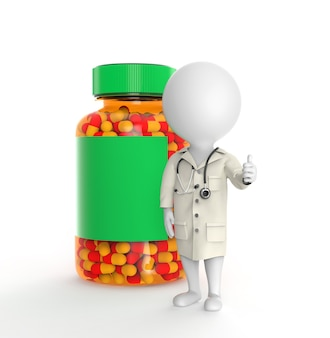 La piccola persona 3d mentre il medico sta vicino alla bottiglia di pillole