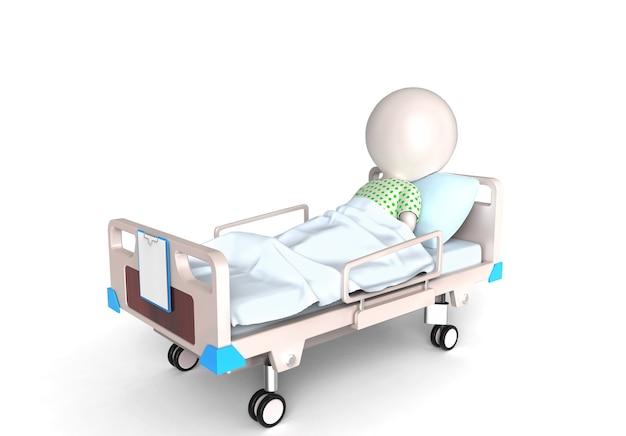Piccola persona 3d come paziente nel letto d'ospedale