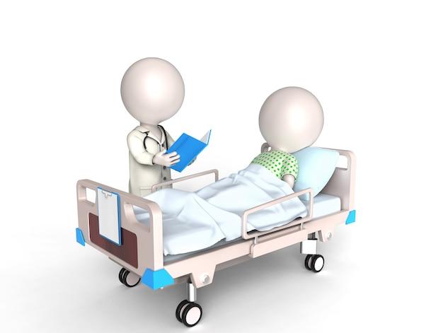 Piccole persone bianche 3d come medico e paziente