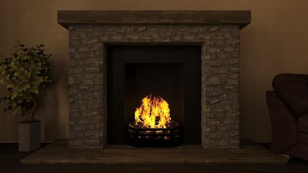 Interiore del salotto 3d con fuoco scoppiettante nel camino