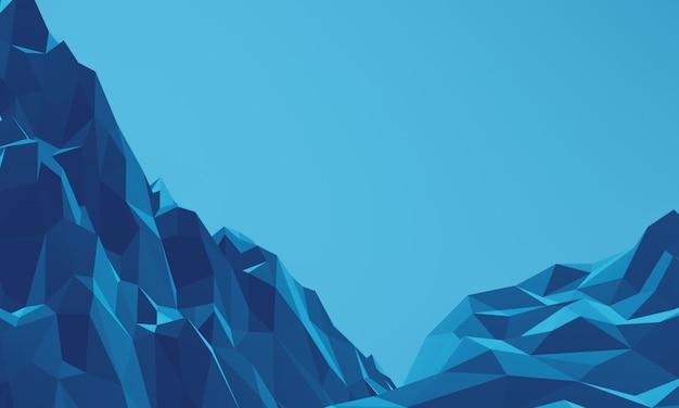 3d basso poligono terreno topografico montagna di roccia blu