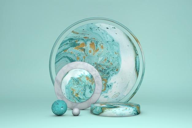 Podio del cerchio di marmo di lusso 3d, colore verde del piedistallo del cilindro con oro su fondo pastello. vetrina della scena concettuale per vendita promozionale, presentazione, cosmetica.