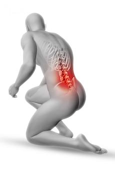 Figura medica maschio 3d in posizione inginocchiata