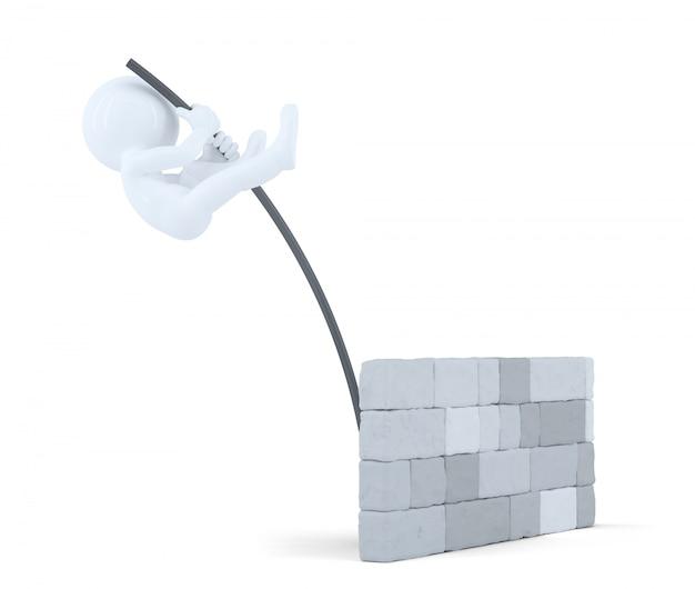 3d uomo salta sopra il muro. isolato. contiene il tracciato di ritaglio