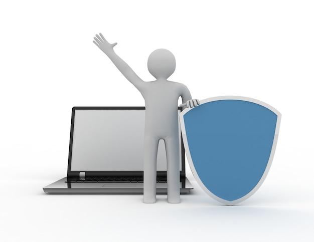 3d uomo e laptop - sicurezza online business