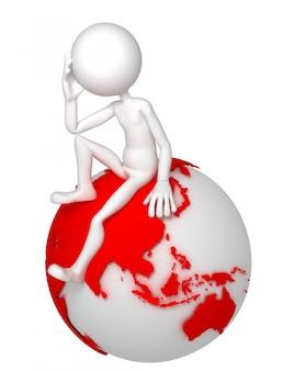 Uomo 3d che si siede sul globo della terra in una posa premurosa. lato asiatico e australiano.