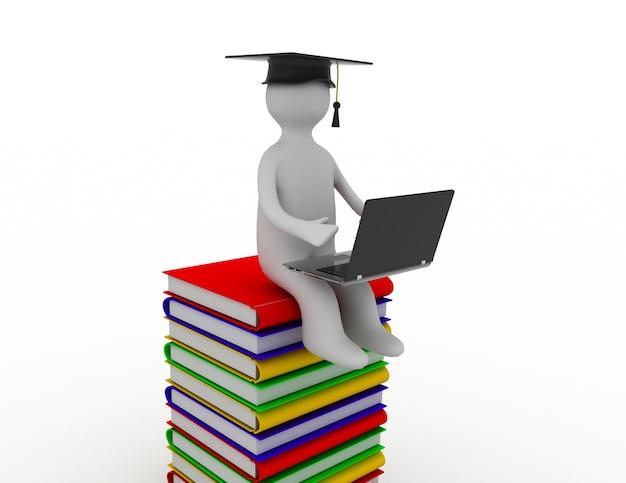 3d uomo seduto su una pila di libri che lavora al suo lapop