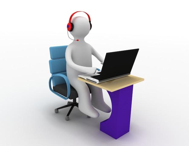 3d uomo seduto al tavolo e lavorando su un computer portatile