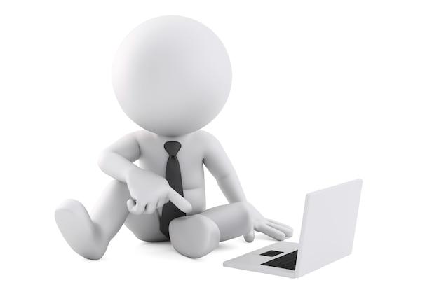 Uomo 3d che si siede con il computer portatile. illustrazione 3d. isolato. contiene il tracciato di ritaglio