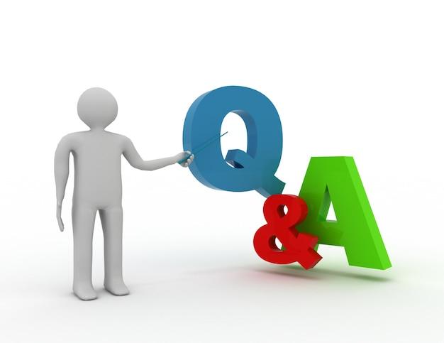 3d uomo in piedi e presentando domande e risposte di parole q e a