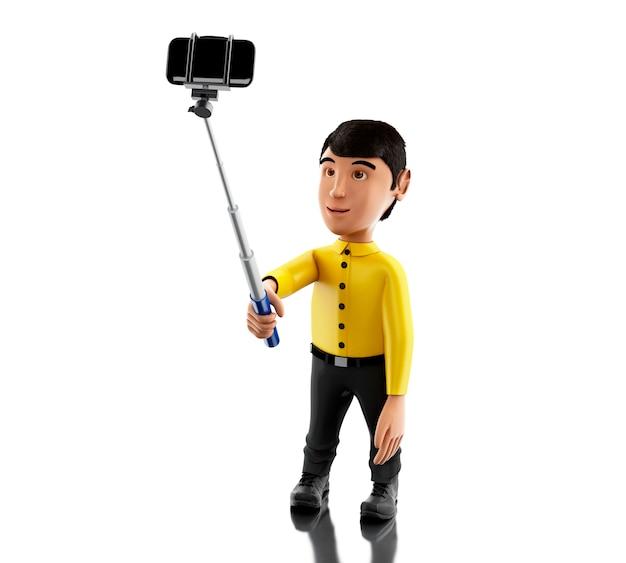 3d man prendendo un selfie con selfie bastone e smartphone.