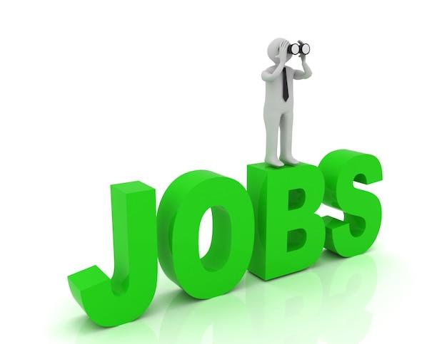 Uomo 3d con un binocolo e la parola jobs. 3d reso illustrazione