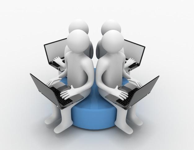 3d uomo con laptop seduto su un disco blu