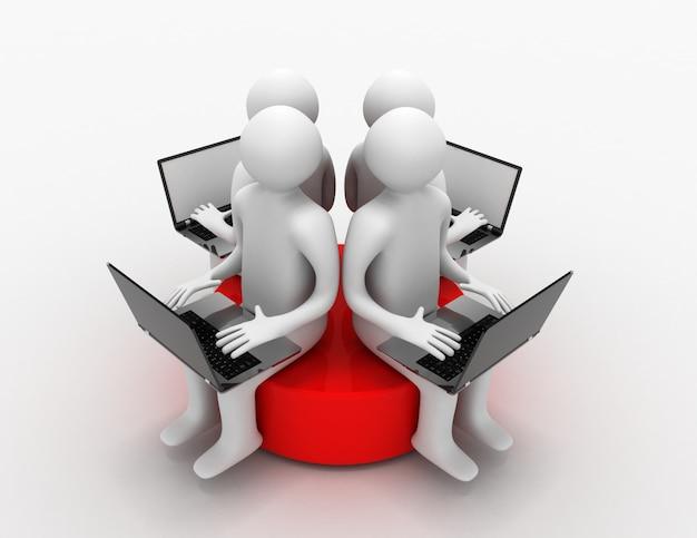3d uomo con laptop seduto su un disco rosso