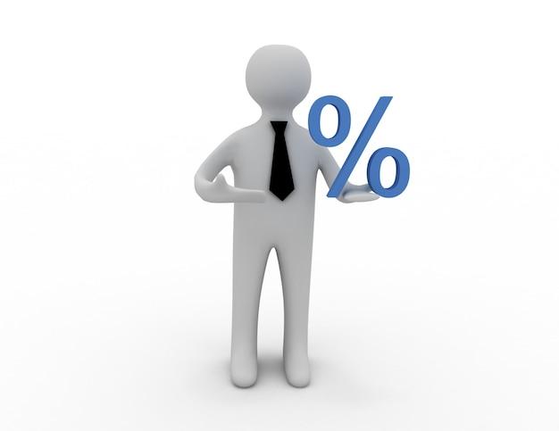 3d uomo con segno di percentuale