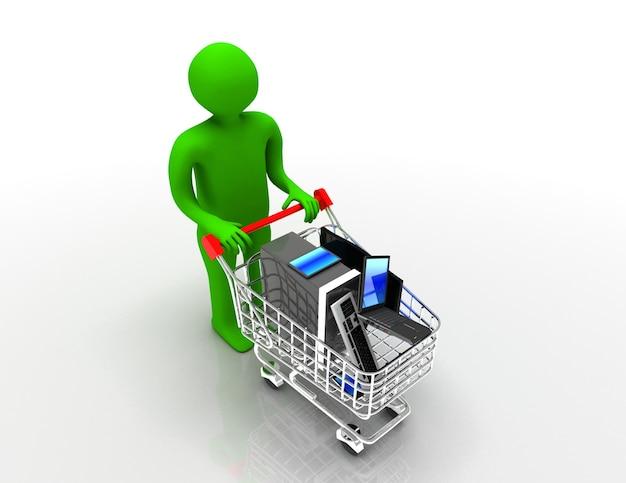 3d uomo con carrello della spesa con elettronica