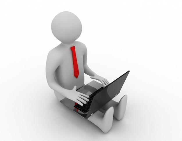 Uomo 3d che lavora al computer portatile