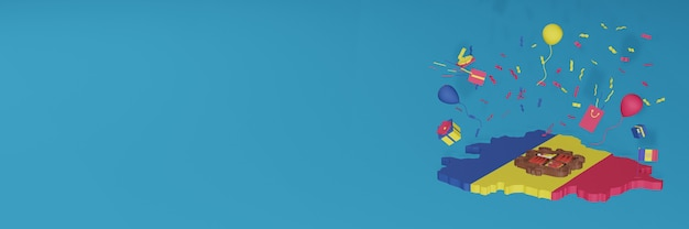 Rendering 3d della mappa della bandiera di andora per celebrare la giornata nazionale dello shopping e il giorno dell'indipendenza