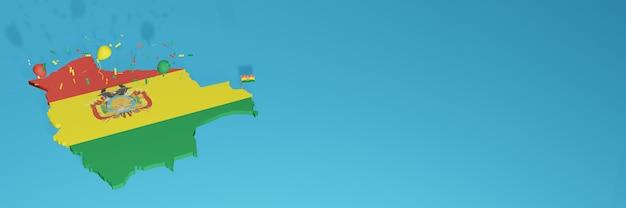 Rendering 3d della mappa della bandiera della bolivia per i social media e il sito web di copertina