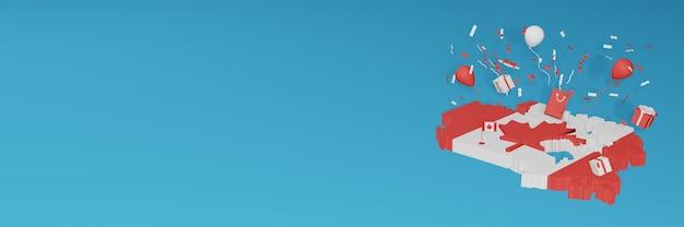 Rendering 3d della mappa della bandiera del canada per celebrare la giornata nazionale dello shopping e il giorno dell'indipendenza