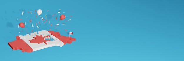 Rendering 3d della mappa della bandiera del canada per i social media e il sito web di copertina