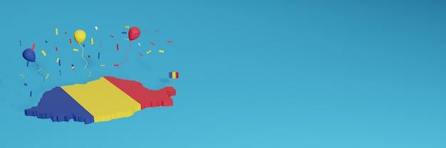 Rendering della mappa 3d in combinazione con la bandiera della romania per i social media e aggiunta della copertina dello sfondo del sito web palloncini rossi gialli blu per celebrare il giorno dell'indipendenza e la giornata nazionale dello shopping