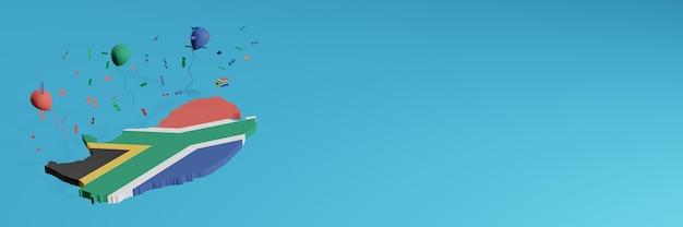 Rendering della mappa 3d in combinazione con la bandiera del paese del sud africa per i social media e più la copertina del sito web palloncini neri rossi blu verdi per celebrare il giorno dell'indipendenza e la giornata nazionale dello shopping
