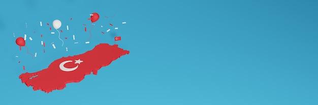 Rendering 3d della mappa in combinazione con la bandiera turca per i social media e copertine di sfondo del sito web aggiunto palloncini rossi e bianchi per celebrare il giorno dell'indipendenza e la giornata nazionale dello shopping