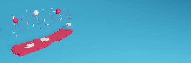 Rendering della mappa 3d combinato con la bandiera del paese del nepal per i social media e aggiunta della copertina dello sfondo del sito web palloncini rossi e bianchi per celebrare il giorno dell'indipendenza e la giornata nazionale dello shopping