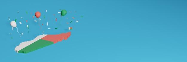 Rendering 3d della mappa combinato con la bandiera del madagascar per i social media e aggiunta della copertina dello sfondo del sito web palloncini rossi blu bianchi per celebrare il giorno dell'indipendenza e la giornata nazionale dello shopping