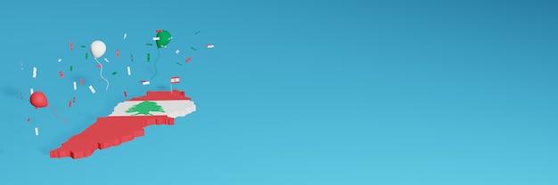 Rendering 3d della mappa combinato con la bandiera del libano per i social media e aggiunta della copertina dello sfondo del sito web palloncini rossi bianchi verdi per celebrare il giorno dell'indipendenza e la giornata nazionale dello shopping