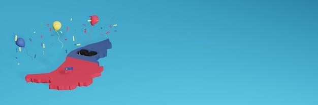 Rendering della mappa 3d combinato con la bandiera del paese di leichtenstein per i social media e aggiunta della copertina dello sfondo del sito web palloncini blu rossi per celebrare il giorno dell'indipendenza e la giornata nazionale dello shopping