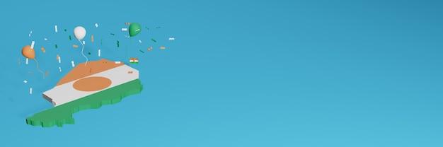 Rendering 3d della mappa combinato con la bandiera nigeriana per i social media e aggiunta della copertina dello sfondo del sito web palloncini verdi bianchi arancioni per celebrare il giorno dell'indipendenza e lo shopping nazionale