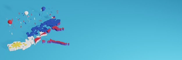 Rendering 3d della mappa combinato con la bandiera del perù per i social media e aggiunta della copertina dello sfondo del sito web palloncini rossi blu bianchi per celebrare il giorno dell'indipendenza e la giornata nazionale dello shopping