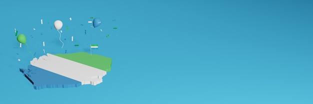 Rendering 3d della mappa combinato con la bandiera del paese di siera leon per i social media e aggiunta della copertina dello sfondo del sito web palloncini verdi bianchi blu per celebrare il giorno dell'indipendenza e la giornata nazionale dello shopping