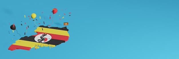 Rendering della mappa 3d combinato con la bandiera dell'uganda per i social media e aggiunta della copertina dello sfondo del sito web palloncini neri gialli rossi per celebrare il giorno dell'indipendenza e la giornata nazionale dello shopping
