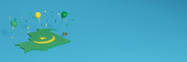 Rendering 3d della mappa in combinazione con la bandiera della mauritania per i social media e copertine di sfondo del sito web aggiunto palloncini verdi gialli per celebrare il giorno dell'indipendenza e la giornata nazionale dello shopping