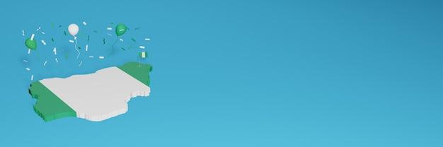 Rendering 3d della mappa in combinazione con la bandiera nigeriana per i social media e aggiunta della copertina dello sfondo del sito web palloncini bianchi verdi per celebrare il giorno dell'indipendenza e la giornata nazionale dello shopping