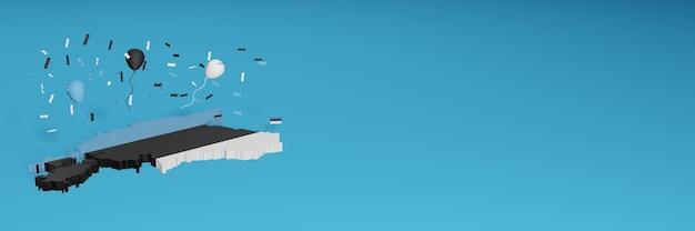 Rendering 3d della mappa della bandiera dell'estonia per i social media e il sito web di copertina
