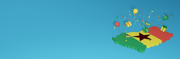 Rendering 3d della mappa della bandiera del ghana per celebrare la giornata nazionale dello shopping e il giorno dell'indipendenza