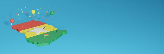 Rendering 3d della mappa della bandiera del ghana per i social media e il sito web di copertina