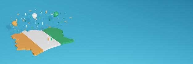 Rendering 3d della mappa della bandiera della costa d'avorio per i social media e il sito web di copertina