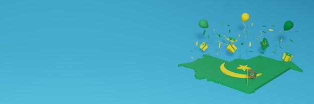 Rendering 3d della mappa della bandiera della mauritania per celebrare la giornata nazionale dello shopping e il giorno dell'indipendenza