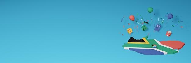 Rendering 3d della mappa della bandiera del sud africa per celebrare la giornata nazionale dello shopping e il giorno dell'indipendenza