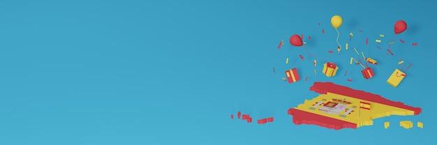 Rendering 3d della mappa della bandiera della spagna per celebrare la giornata nazionale dello shopping e il giorno dell'indipendenza